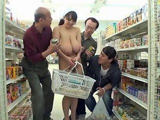 A Wild Busty Japanese Girl Shops Nude And Fucks In The Store