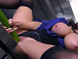 Health Inspector Ava Addams Fucks Her Pussy With A Giant Cucumber