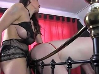 Strapon Jane Fucks Gimp In Red Thong Virgin Ass With