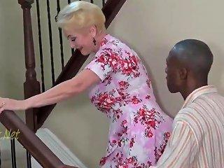 Blonde Granny Invites Black Dad For Creampie