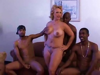 Long Gangbng Of A MILF By Black Guys